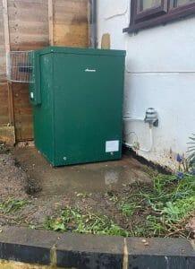 Boiler installed outdoors. Great Gaddesden.